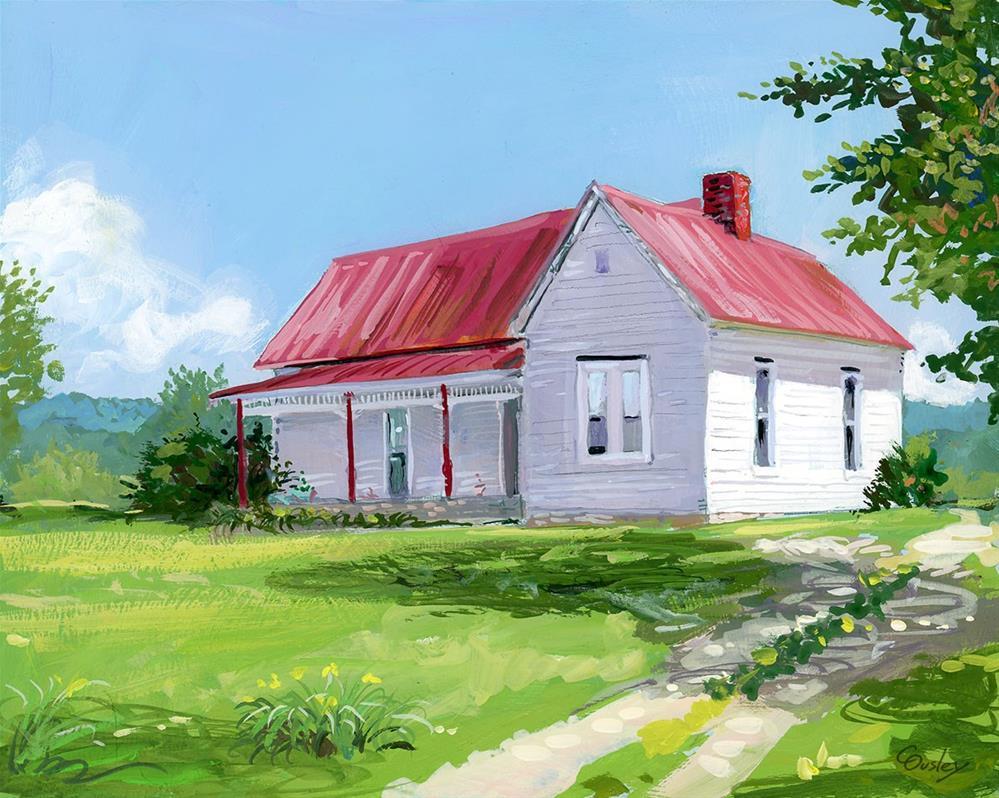 """Farmhouse on Clovercroft Road in Nolensville TN"" original fine art by Chris Ousley"