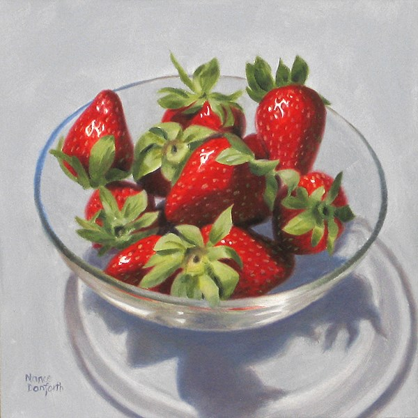 """Strawberries in Glass Bowl"" original fine art by Nance Danforth"