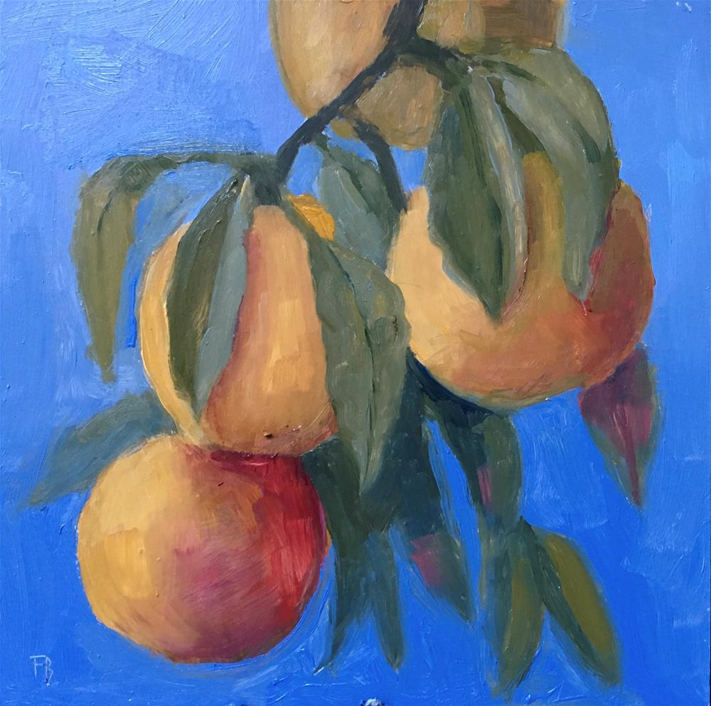 """073 Peaches On A Branch"" original fine art by Fred Bell"