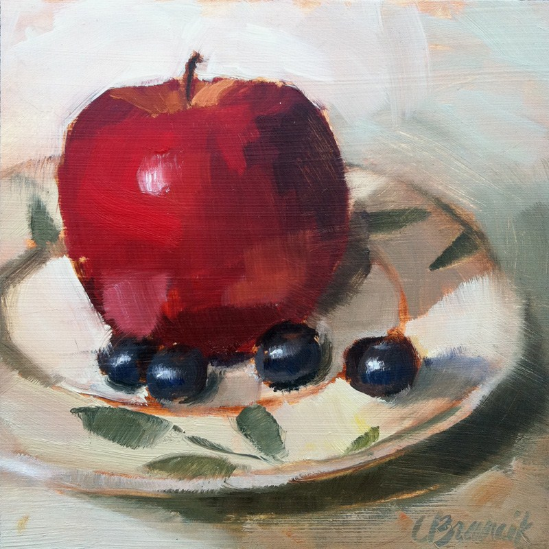 """Apple & Blueberries"" original fine art by Candace Brancik"