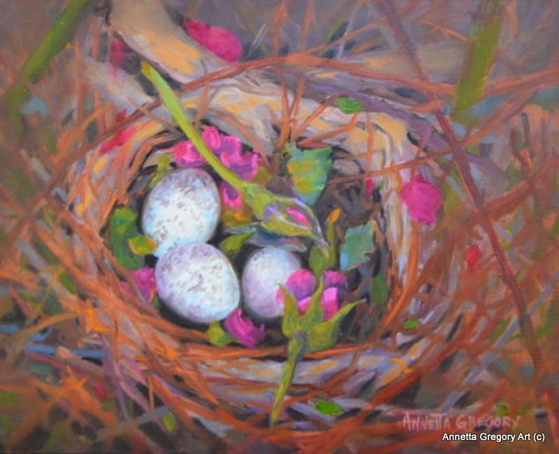 """Nest in Rose Bush"" original fine art by Annetta Gregory"