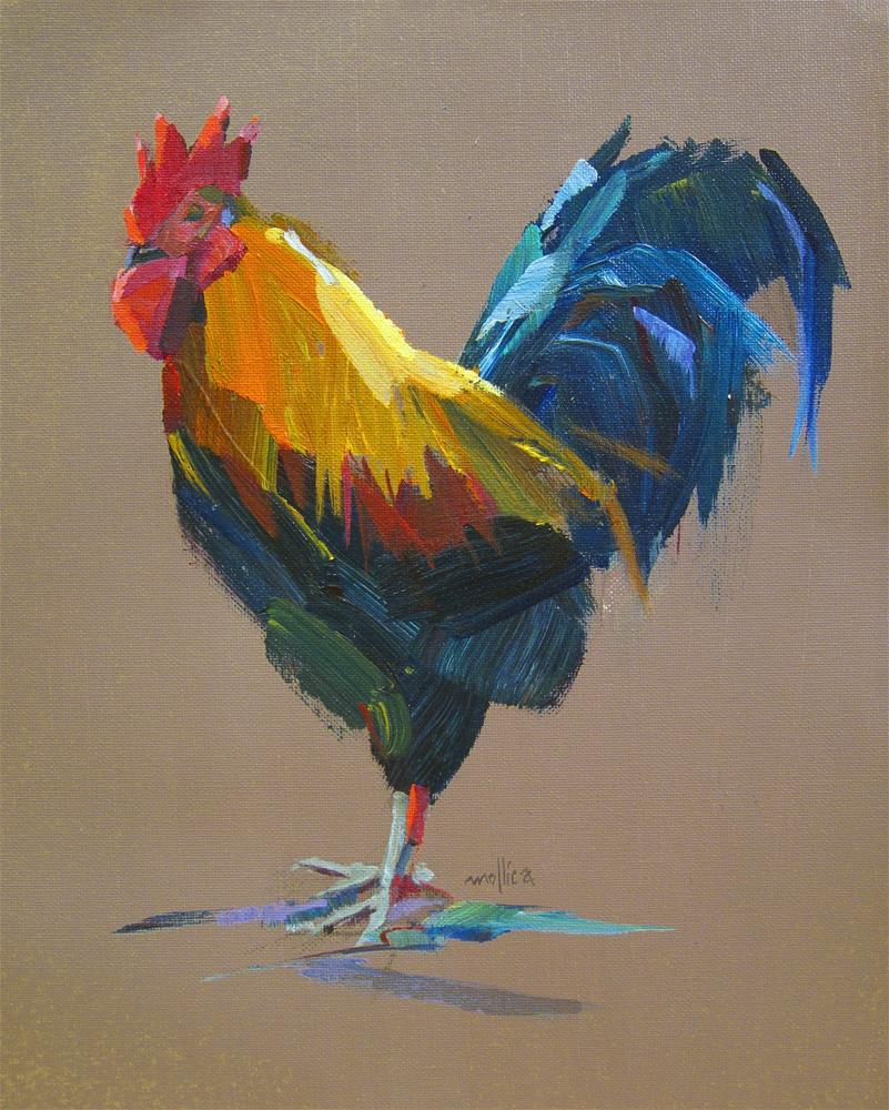 """Ruminating Rooster"" original fine art by Patti Mollica"