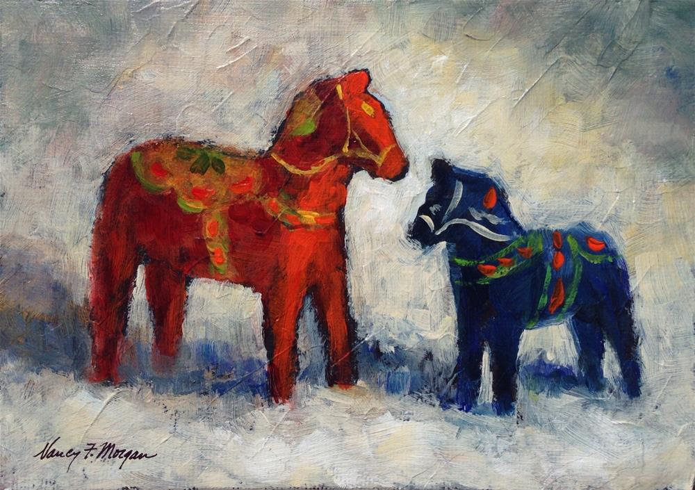 """Swedish Horses"" original fine art by Nancy F. Morgan"