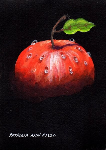 """Apple with Water Drops"" original fine art by Patricia Ann Rizzo"