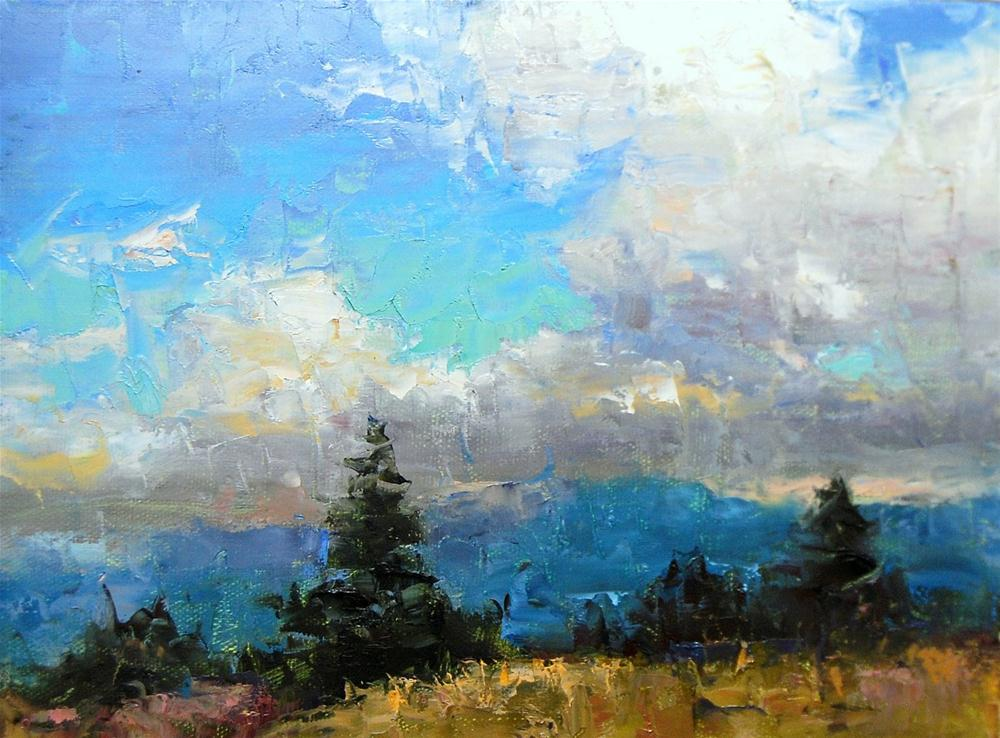 """Cloudy Day in the Rockies"" original fine art by Julie Ford Oliver"