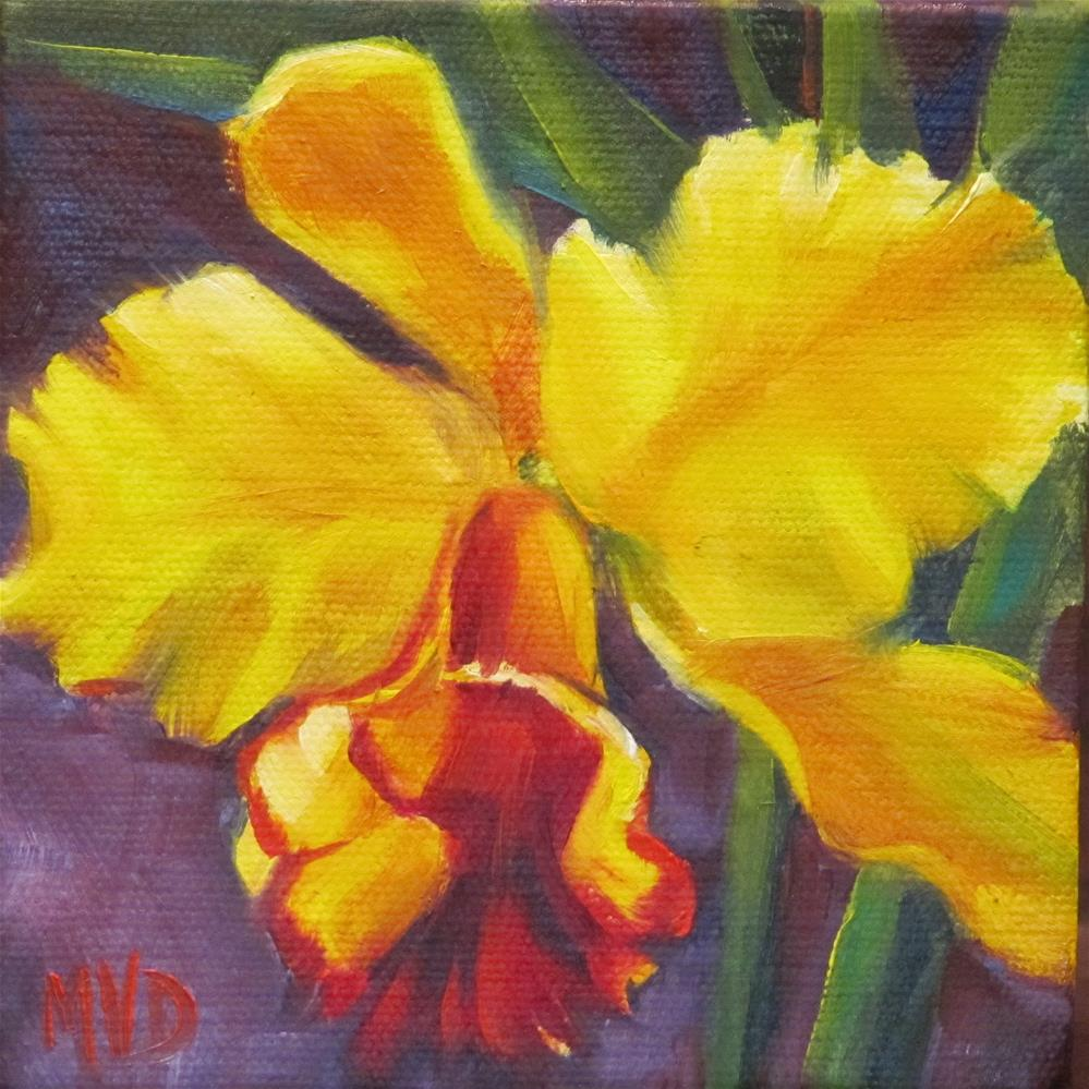 """Golden Orchid"" original fine art by Mary Van Deman"