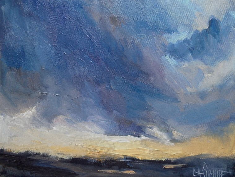 """Stormy Landscape Painting, Daily Painting, Small oil Painting, 8x10x.75 Storm Scene"" original fine art by Carol Schiff"