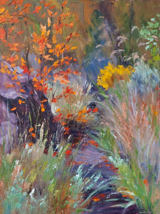 """KM2845 Textures of Fall by Colorado artist Kit Hevron Mahoney (24x18, oil, landscape)"" original fine art by Kit Hevron Mahoney"