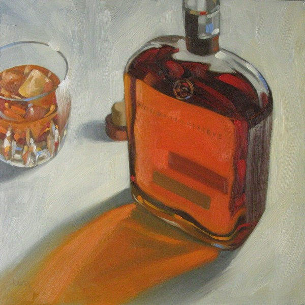"""Woodford Reserve on the rocks  12x12 oil"" original fine art by Claudia Hammer"
