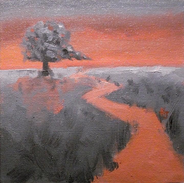 """#14 Lone Oak, Coral Twilight"" original fine art by Kathy Johnson"