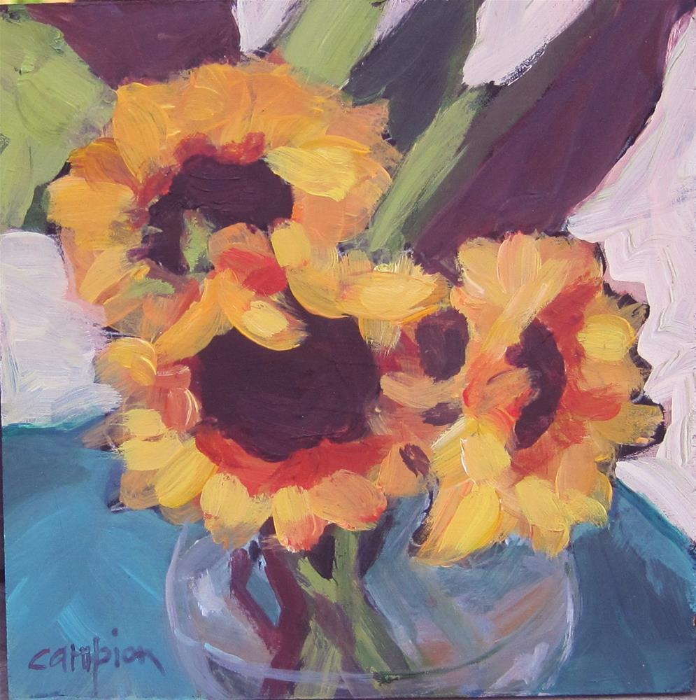 """104.  Sunflowers in a Bowl"" original fine art by Diane Campion"