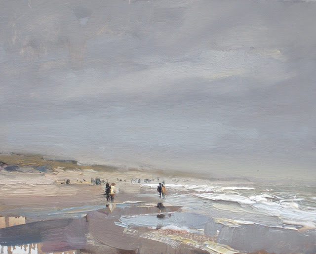 """Seascape winter #2 Strolling down the coastline"" original fine art by Roos Schuring"