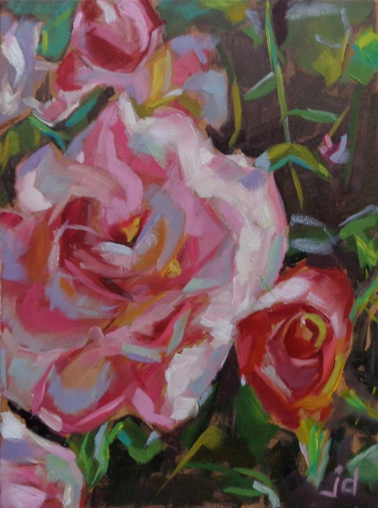 """ROSES ARE PINK"" original fine art by Jean Delaney"