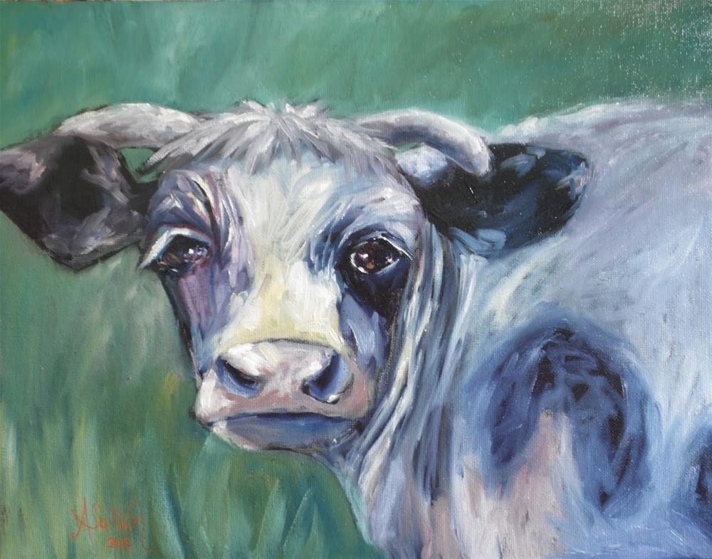 """Baby Girl cow painting by Alabama Artist Angela Sullivan"" original fine art by Angela Sullivan"
