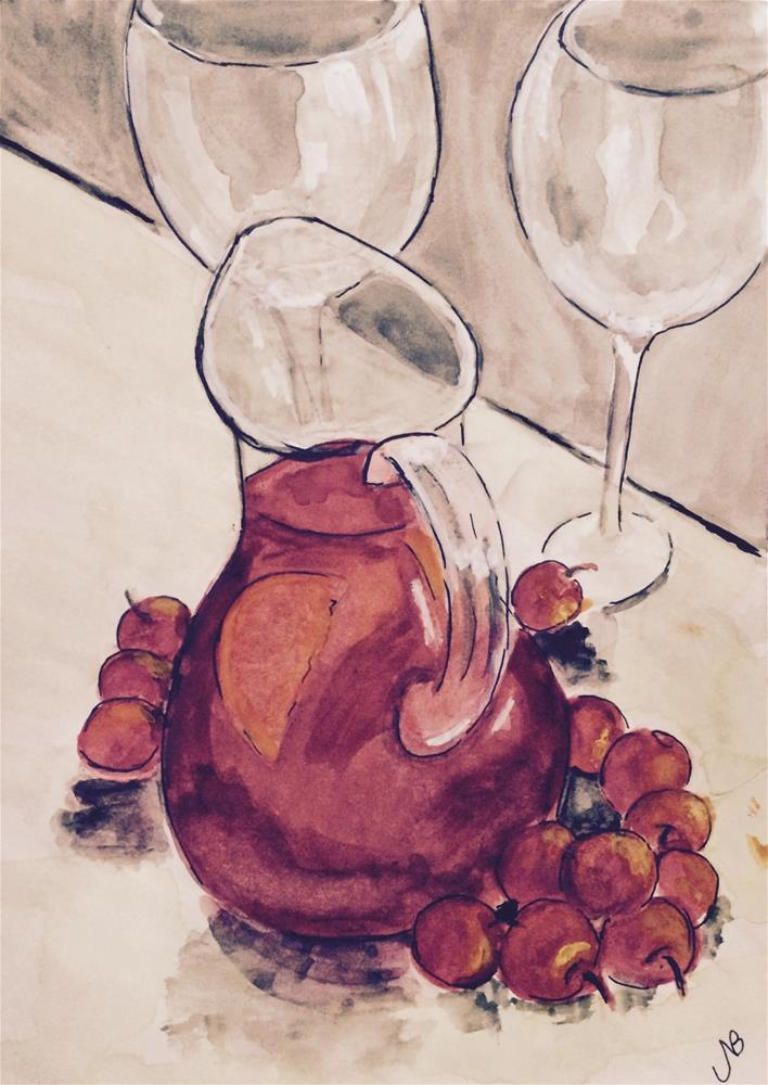 """Nothing Says Summer Like Sangria watercolor 9 x 6"" original fine art by Nancy Beard"