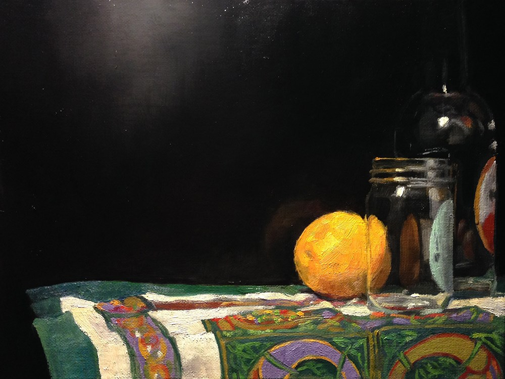 """Oranges and Glasses on Celtic Cloth"" original fine art by Chris Beaven"