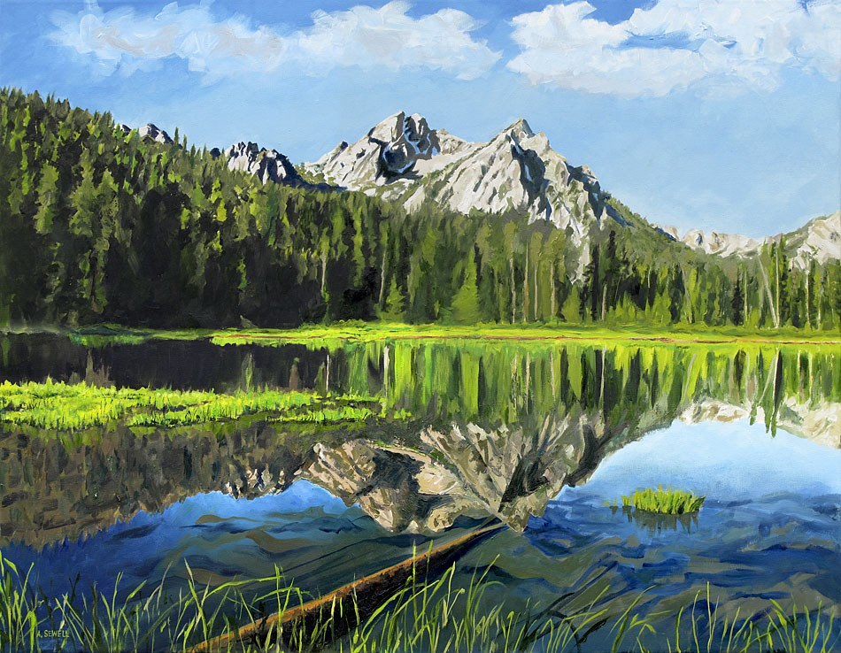 """Stanley Lake Reflections"" original fine art by Andy Sewell"