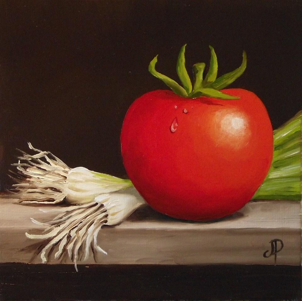 """Tomato & Spring Onion"" original fine art by Jane Palmer"