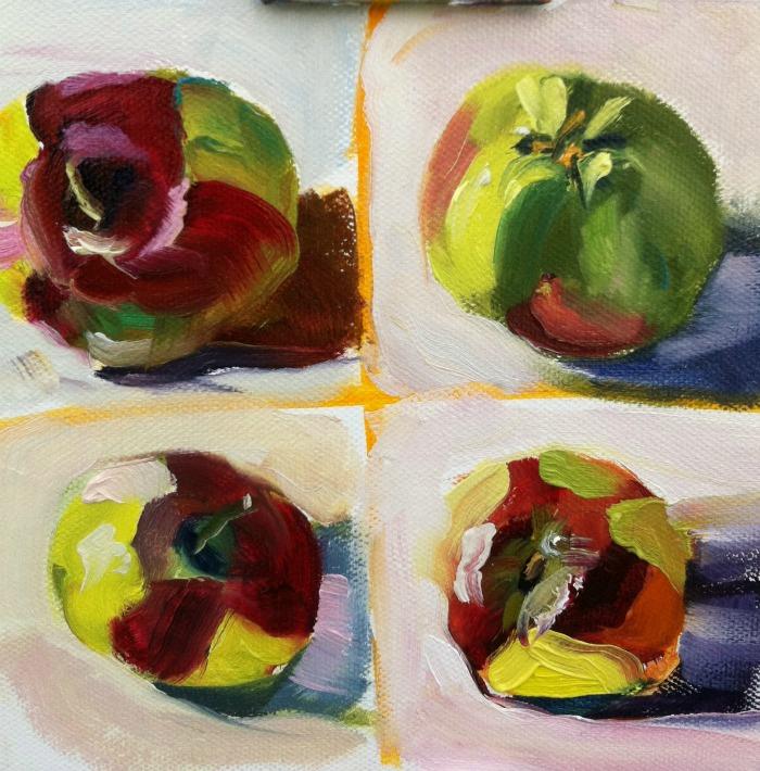 """""""Ten Minute Challenge, oil on board,6x6"""" original fine art by Darlene Young"""