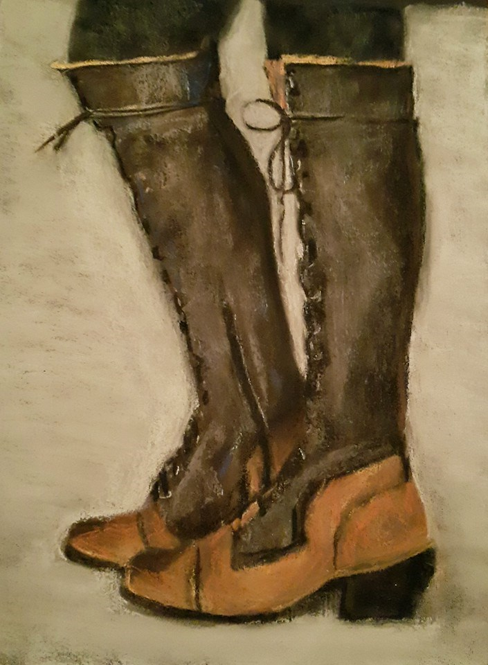 """Sabrina's boots"" original fine art by Rentia Coetzee"