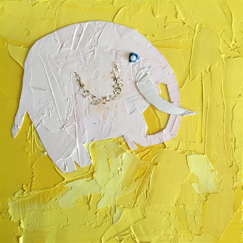 """Pink elephant flying in butter"" original fine art by pamela kish"