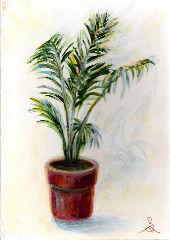 """3196 - Palm Pot"" original fine art by Sea Dean"