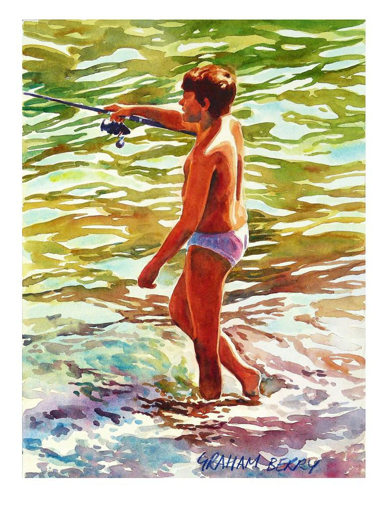 """Boy, fishing in the sea."" original fine art by Graham Berry"
