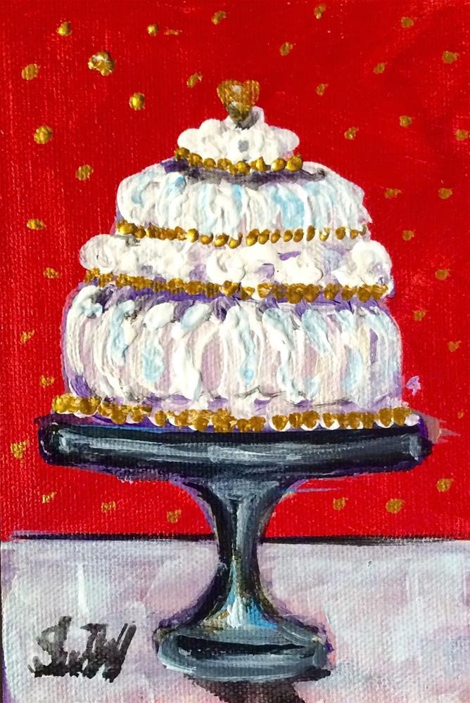 """Coconut meringue cake painting"" original fine art by Sonia von Walter"