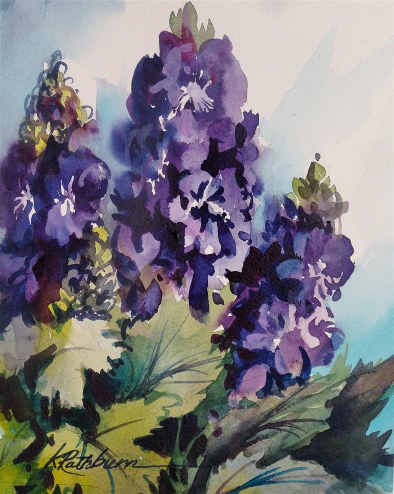 """Clippings from my Garden- Delphenium"" original fine art by Kathy Los-Rathburn"