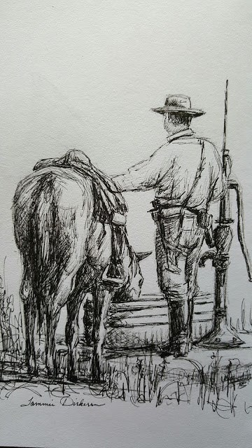 """Watering the Horse"" original fine art by Tammie Dickerson"