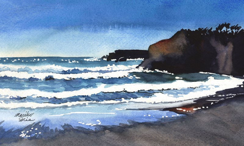 """Waves at Sunny Beach"" original fine art by Mariko Irie"