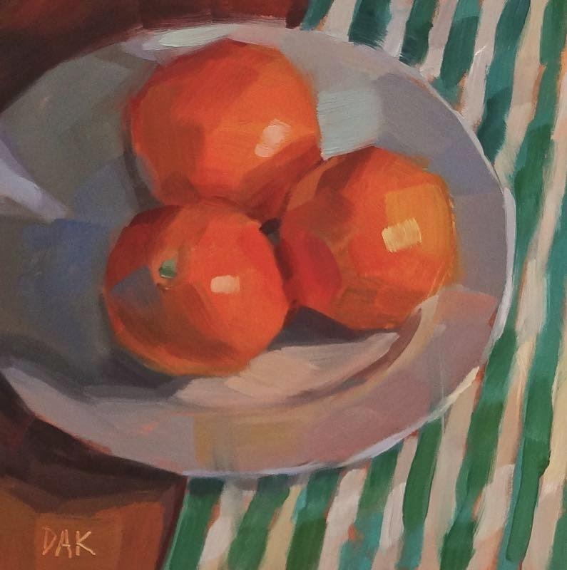 """Oranges Uncut"" original fine art by Deborah Ann Kirkeeide"