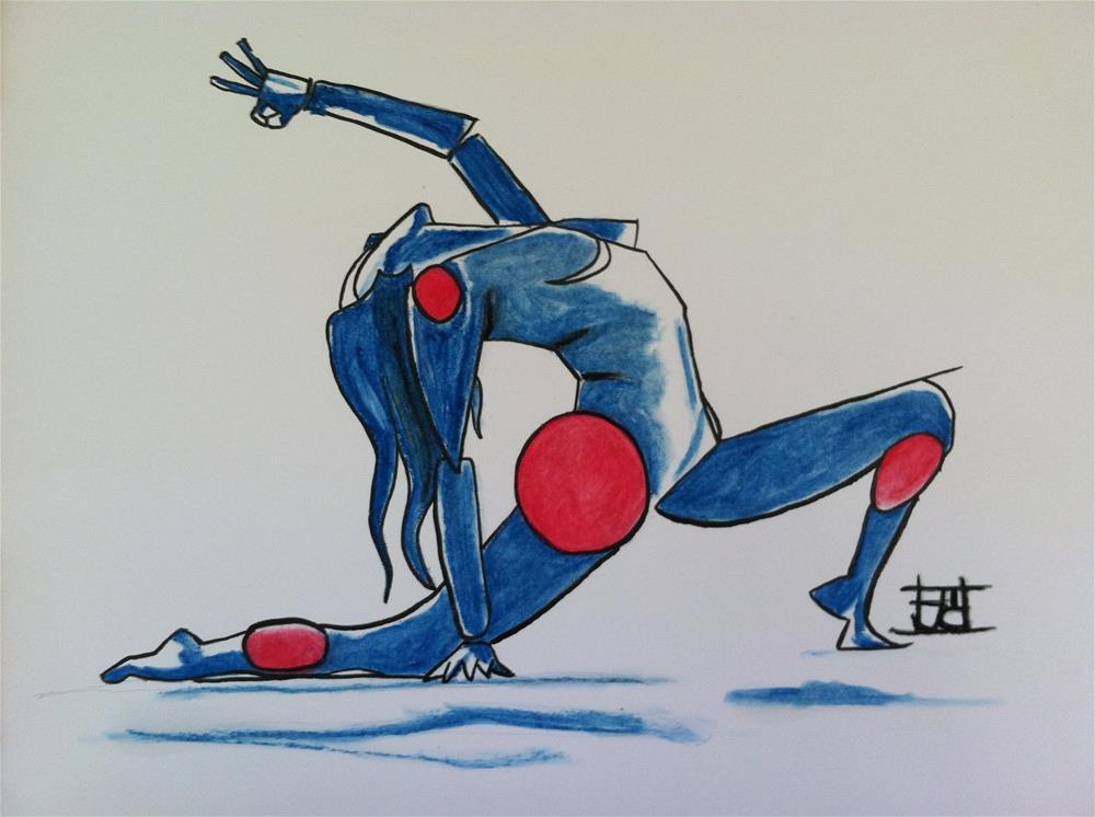 """Yoga-bot"" original fine art by Arron McGuire"