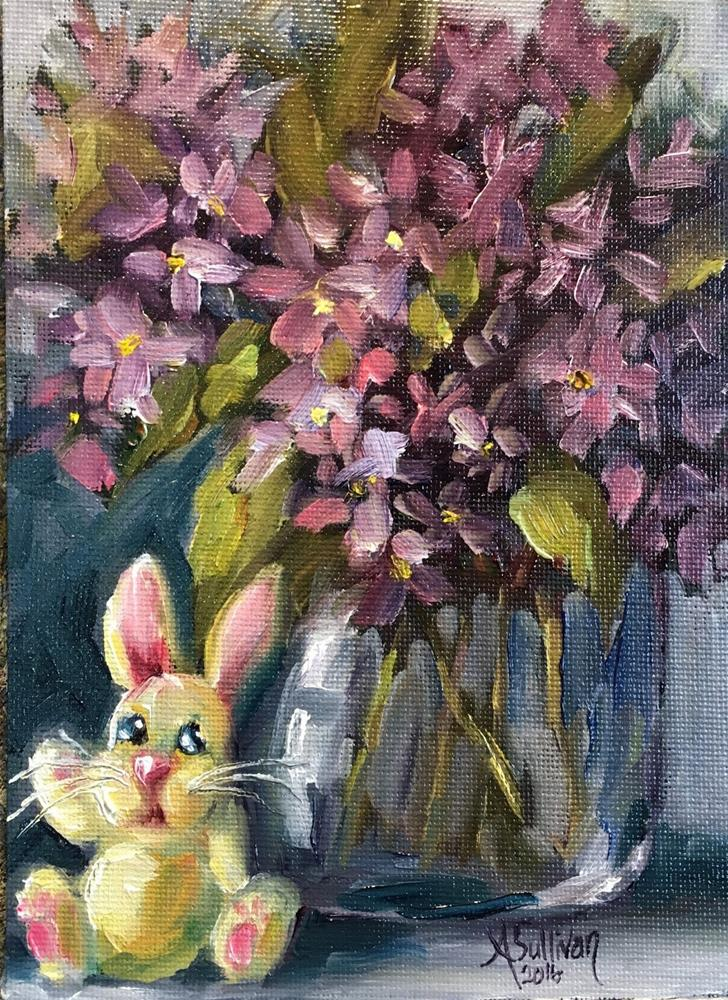"""I Think I Will Just Sit Right Here bunny still life painting by Alabama Artist Angela Sullivan"" original fine art by Angela Sullivan"