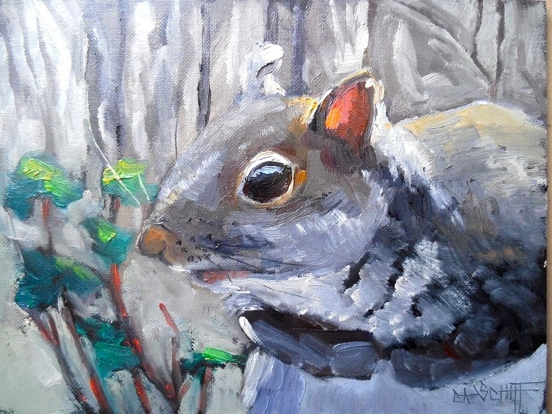 """Wildlife  Painting, Small Oil Painting, Daily Painting, Gray Squirrel by Carol Schiff, 6x8 Oil"" original fine art by Carol Schiff"