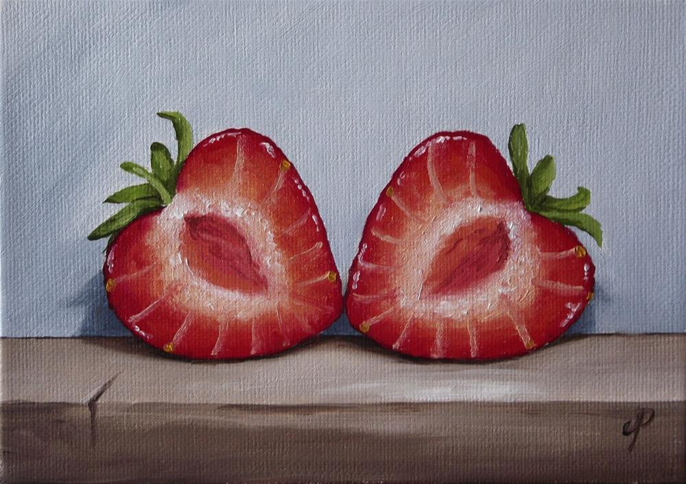 """Strawberry Hearts"" original fine art by Jane Palmer"