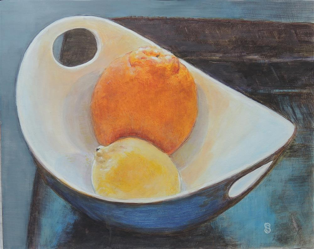 """Orange You a Big Boy Said the Lemon"" original fine art by Belinda Scheber"