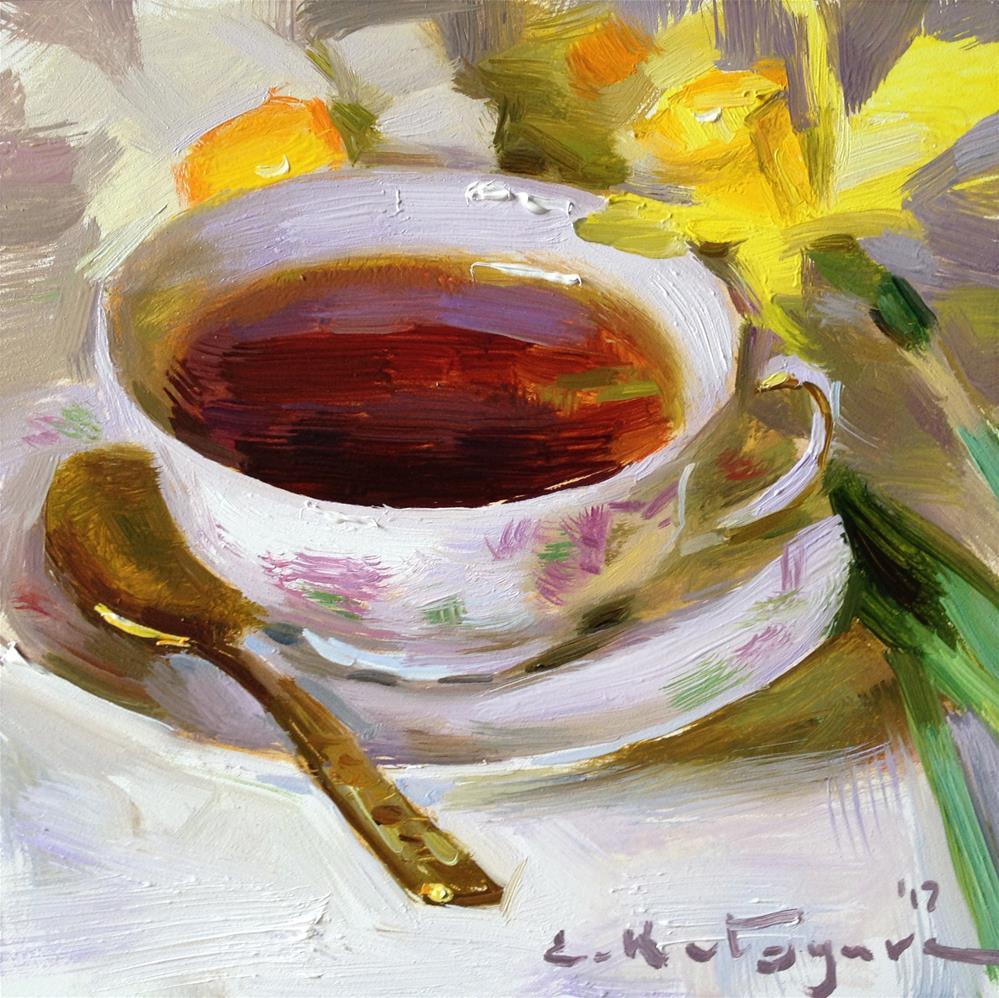 """Spring Teatime"" original fine art by Elena Katsyura"