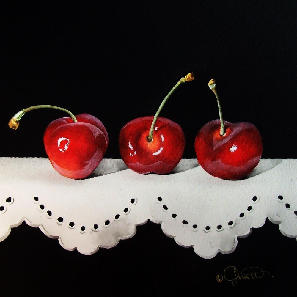 """""""Cherries on Lace"""" original fine art by Jacqueline Gnott, whs"""
