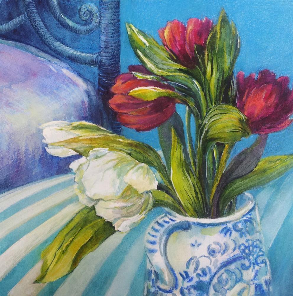 """DCS # 28 Bedside bouquet"" original fine art by Olga Touboltseva-Lefort"