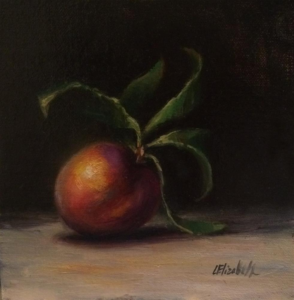 """Peach with Leaves,  6x6 Oil on linen Panel"" original fine art by Carolina Elizabeth"