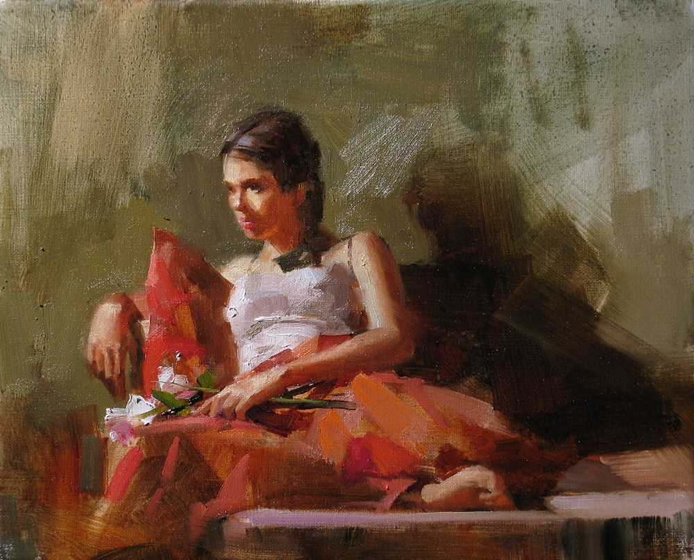 """The Girl in Red"" original fine art by Qiang Huang"