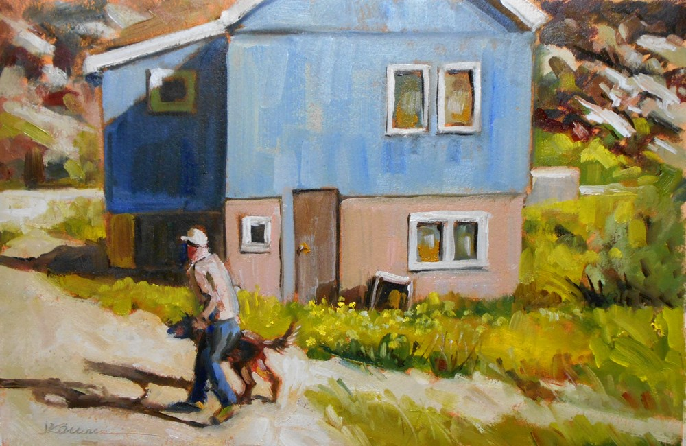 """Greenlander & Dog"" original fine art by Jeanne Bruneau"
