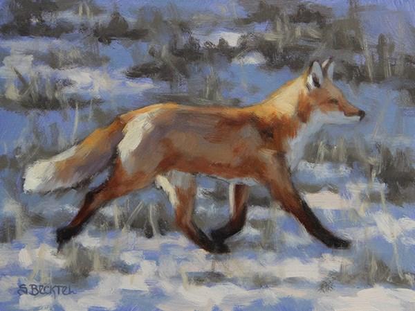 """Trotting Red Fox"" original fine art by Sarah Becktel"