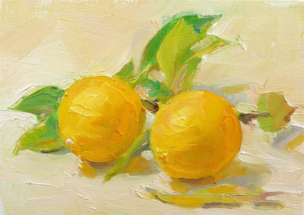 """Meyer Lemons,still life,oil on canvas,5x7,price$175"" original fine art by Joy Olney"