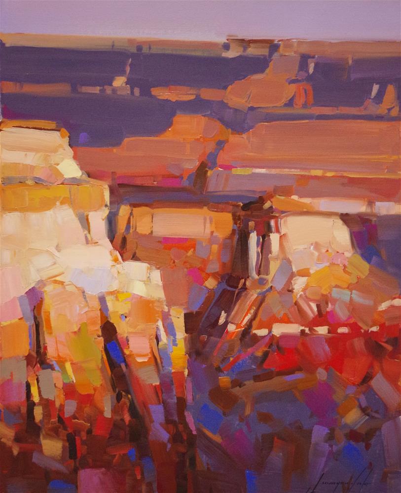 """Grand Canyon sunset, original landscape oil painting, handmade art, one of a kind,"" original fine art by V Y"