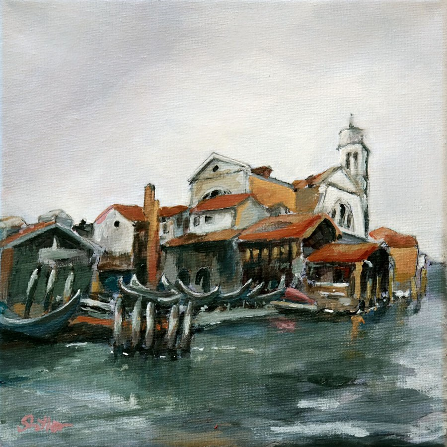 """1744 Gondola Shipyard"" original fine art by Dietmar Stiller"