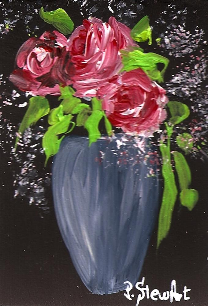 """ACEO Red Roses and Baby's Breath Flowers in a Blue Grey Vase"" original fine art by Penny Lee StewArt"