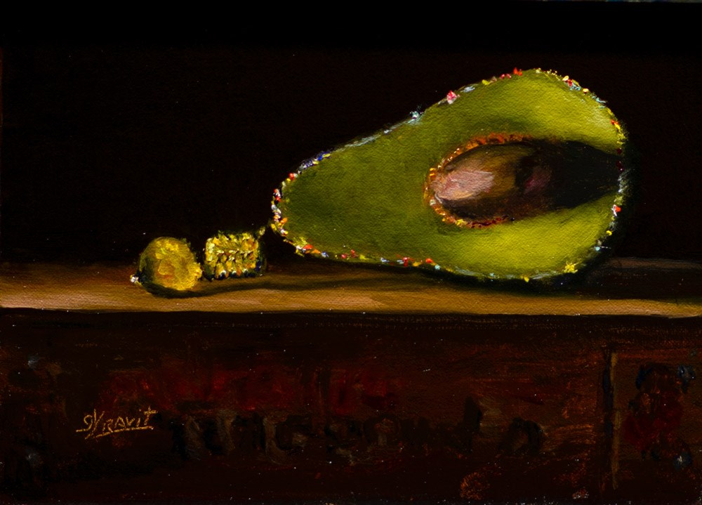 """Avocado Christmas Ornament"" original fine art by Garry Kravit"