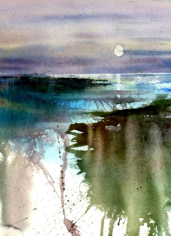 """Moonlight on the Beach 1"" original fine art by Peter Wellington"